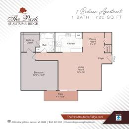 One Bedroom Floor Plan at The Park at Autumn Ridge, Jackson, MS