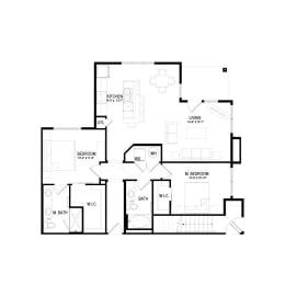 B1 Floor Plan at Hermosa Village, Leander