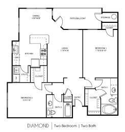 B3C Floor Plan at Elan Apartment Homes, Austin, TX, 78750