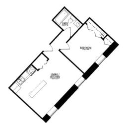 1 Bedroom A 1 Bath Floor Plan at The Argyle on Mass Ave, Indiana