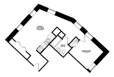 1 Bedroom B 1 Bath Floor Plan at The Argyle on Mass Ave, Indiana, 46202