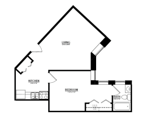 1 Bedroom C 1 Bath Floor Plan at The Argyle on Mass Ave, Indianapolis, IN, 46202