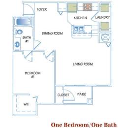 1 Bed - 1 Bath  721 sq ft floorplan