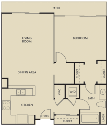 Floor Plan  1 bed  1 Bath 832-835 square feet floor plan D