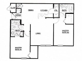 2 Bed, 2 Bath, 985 sq. ft. 2 Bedroom Mustang floor plan