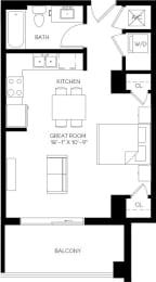 Studio 527 square feet floor plan S1