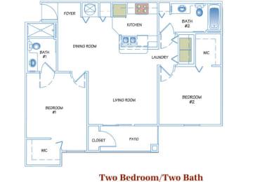 2 Bed - 2 Bath  969 sq ft floorplan