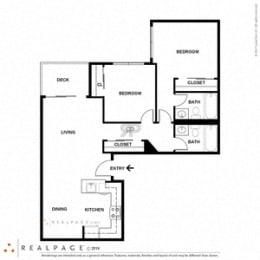 2 Bed 2 Bath 866 square feet floor plan A