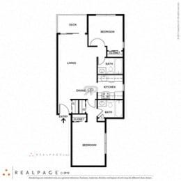 2 Bed 2 Bath 771 square feet floor plan B
