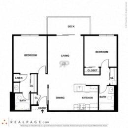 2 Bed 2 Bath 863 square feet floor plan D