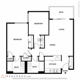 2 Bed 2 Bath 938 square feet floor plan E