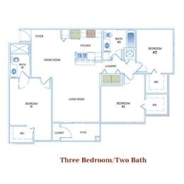 3 Bed - 2 Bath  1205 sq ft floorplan