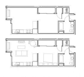 Studio 528 sq ft floorplan