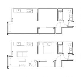 Studio 504 sq ft floorplan
