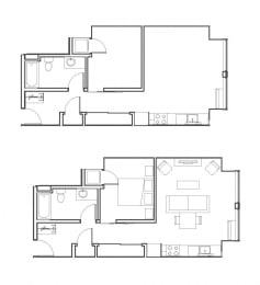 1 Bed - 1 Bath 611 sq ft floorplan