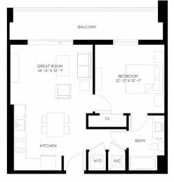 1 Bed 1 Bath 652 square feet floor plan A1