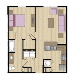1 Bed - 1 Bath  872 sq ft floorplan