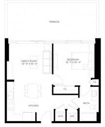 1 Bed 1 Bath 670 square feet floor plan A1-A