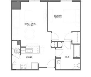 A1-H 1 Bed - 1 Bath |779 sq ft floorplan