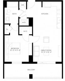 1 Bed 1 Bath 709 square feet floor plan A3