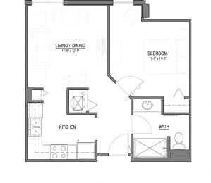 A3 1 Bed - 1 Bath |569 sq ft floorplan