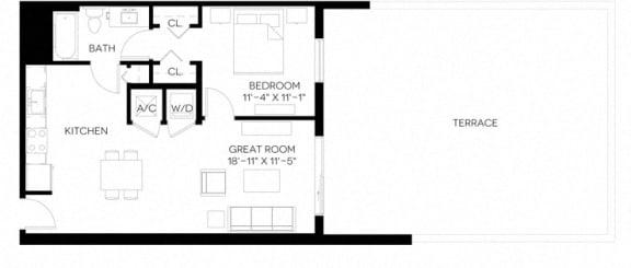 1 Bed 1 Bath 728 square feet floor plan A6-A