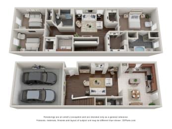 3 Bedroom 2.5 Bath Floor Plan at Addicks Stone Village, Houston, 77082