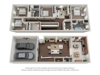 4 Bed 2.5 Bath Floor Plan at Addicks Stone Village, Houston, Texas