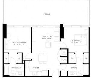 2 Bed 2 Bath 986 square feet floor plan B-A