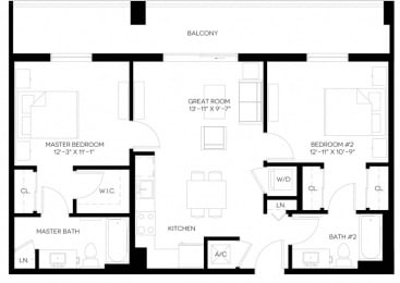 2 Bed 2 Bath 952 square feet floor plan B1