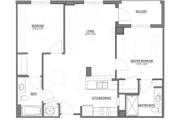 B1-C 2 Bed - 2 Bath |995 sq ft floorplan