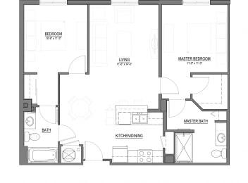 B1-E 2 Bed - 2 Bath |984 sq ft floorplan
