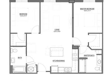 B1-T 2 Bed - 2 Bath |995 sq ft floorplan