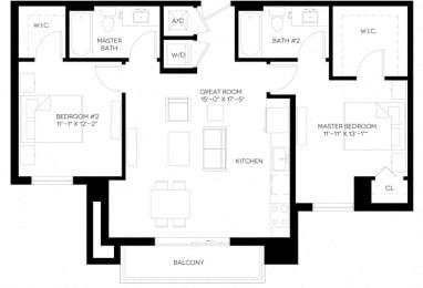 2 Bed 2 Bath 989 square feet floor plan B2