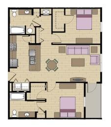2 Bed - 2 Bath  1075 sq ft floorplan