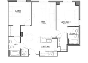 B2-B 2 Bed - 2 Bath |960 sq ft floorplan
