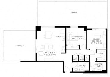 2 Bed 2 Bath 1,014 square feet floor plan B3
