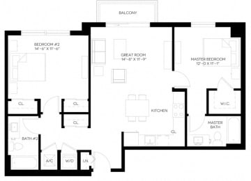 2 Bed 2 Bath 1,055 square feet floor plan B4