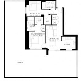 2 Bed 2 Bath 1,001 square feet floor plan B5