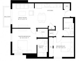 2 Bed 2 Bath 973 square feet floor plan B6