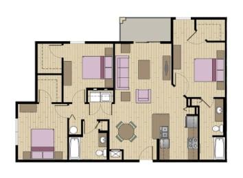 3 Bed - 2 Bath  1312 sq ft floorplan