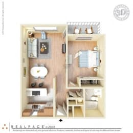 1 Bed, 1 Bath, 621 square feet floor plan 3d furnished
