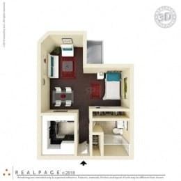 400 square feet floor plan Studio 3D furnished