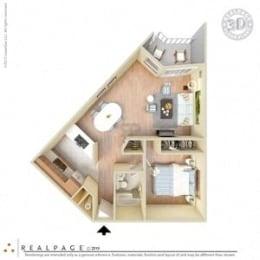 1 Bed, 1 Bath, 650 square feet floor plan Jr. 3d furnished