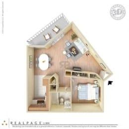 1 Bed, 1 Bath, 725 square feet floor plan Large 3d furnished