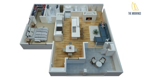 1 Bed - 1 Bath, 842 sq ft, B floor plan