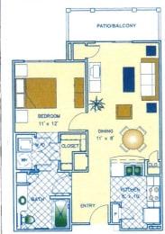 1 Bed - 1 Bath |800 sq ft floorplan