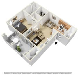 One Bedroom One Bathroom 3-D