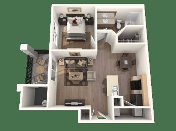 Fendi one bedroom one bath floor plan