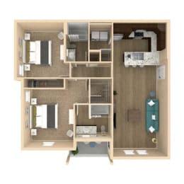 3d 2 Bed 2 Bath 1128 square feet floor plan Palm